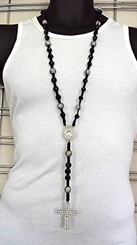 Mens Hip Hop Black Silver Crystal Cross & Rosary Beads Shamballa Style Necklace