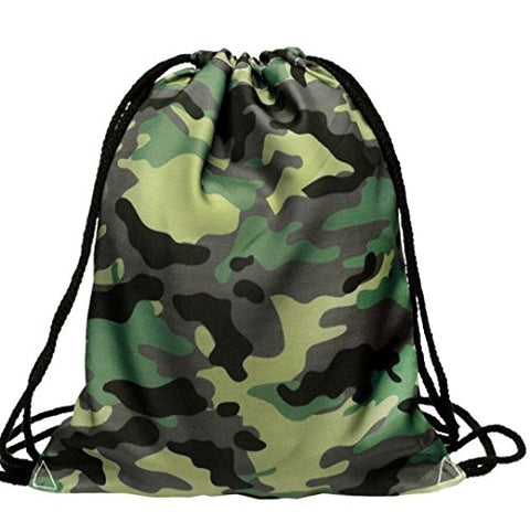 BESSKY 3D Military Green Printing Bags Drawstring Backpack(39cm33cm)
