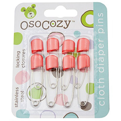 OsoCozy Diaper Pins - {Red} - Sturdy, Stainless Steel Diaper Pins with Safe Locking Closures - Use for Special Events, Crafts or Colorful Laundry Pins