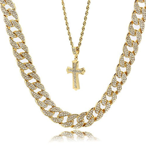 Mens 14k Gold Plated Sharp Cross Pendant Hip Hop 24  Rope & 30  Cz Cuban Chain