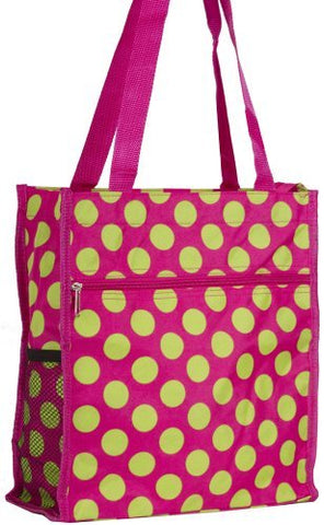 World Traveler Pink Green Polka Dot Travel Tote Bag 12-inch
