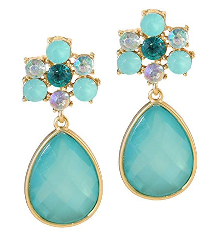 Turquoise & Mint Crystal Drop Earrings 2  Long Boxed (#102)