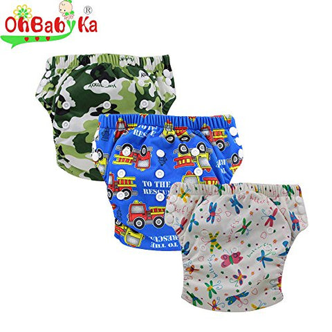 Ohbabyka Baby Training Pants,baby diapers waterproof Pants 3PCS (multicolored)