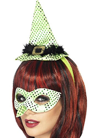 Wicked Witch Mask and Hat on Headband Set