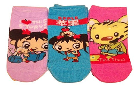 Ni Hao Kai-lan Kids 3 Sock Set ~ Size 4-6, Shoe 7-10 (Story, Apple, Rintoo Tea)