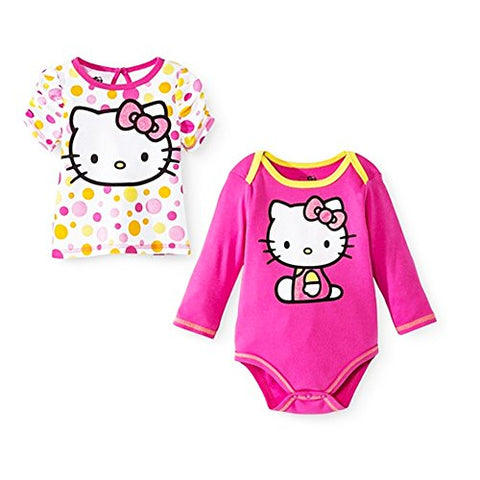 Hello Kitty Baby Girls' Bodysuit and T-shirt Set - Pink (0/3 mo)