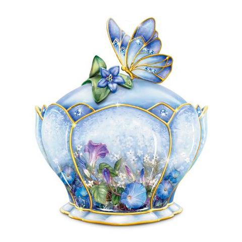 Butterfly Floral Art Heirloom Porcelain Music Box: Whispering Wings by The Bradford Exchange