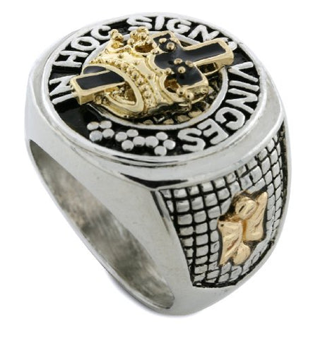 Gold/Silver Tone Mason Masonic Hoc Signo Vinces Men's Ring Size 12 #3
