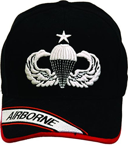 Airborne Senior Parachutist Badge Black Hat with Embroidered Bill