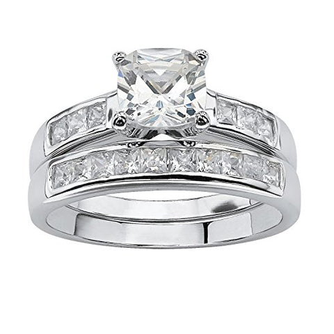 Cushion-Cut White Cubic Zirconia Platinum over .925 Sterling Silver 2-Piece Bridal Ring Set