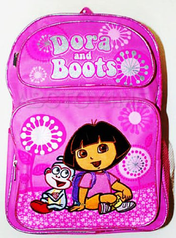 Dora The Explorer Dora and Boots Pink Flowers & Fireworks Style School Backpack