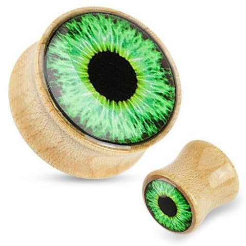 Organic Wood Saddle Plug with Green Eyeball Print Dome Top 1  sold as a pair