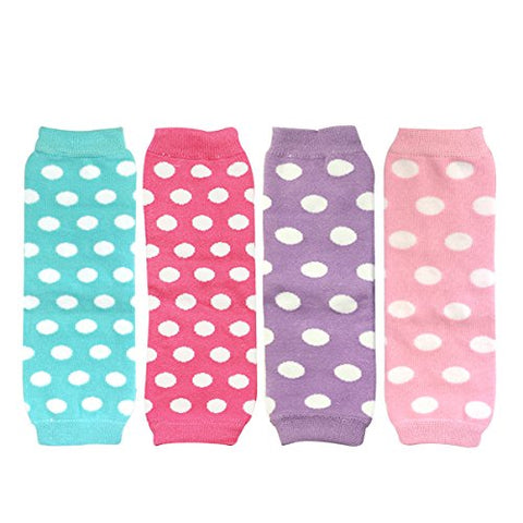 Wrapables Colorful Baby Leg Warmers Set of 4, Dots Aqua, Hot Pink, Pink, Lilac