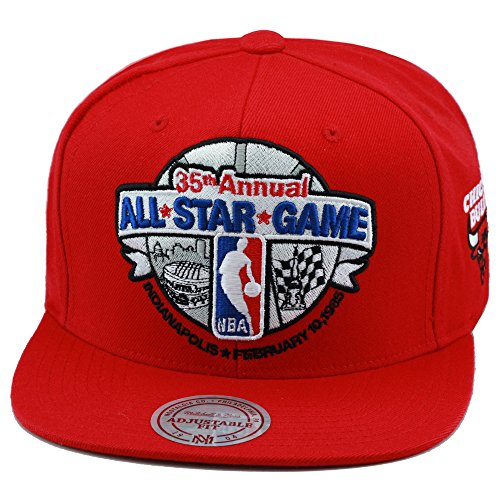 1c5d340e9b1 Mitchell  amp  Ness NBA All Star Game 1985 Indianapolis Snapback Hat  Red Bulls Patch