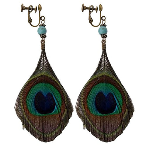 Vintage Turquoise Teardorp Animal Peacock Feather Dangle Clip on Earrings Long Tassel for Girls Women