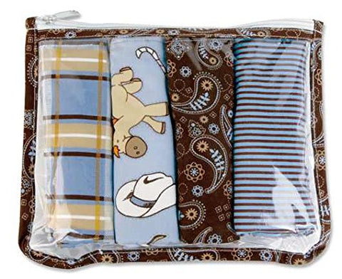 Trend Lab Gift Set - Cowboy Zipper Pouch And 4 Burp Cloths