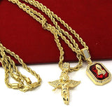 Mens Gold Angel & P Ruby Bundle Set Cz Pendant Hip Hop 24  & 30  Rope Chain D463