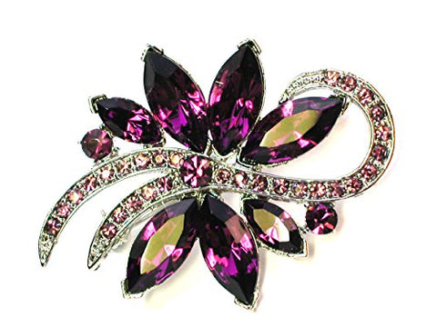Faship Stunning Amethyst Color Purple Crystal Floral Pin Brooch