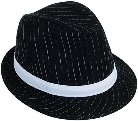 Loftus 1920s Gangster Mob Boss Costume Pinstripe Fedora, Black White, One Size