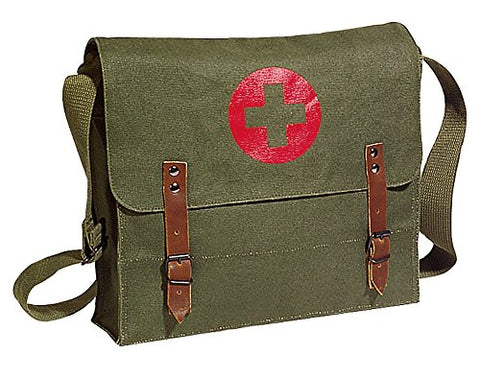 Khaki Green Vintage Look Army Red Cross Medic Shoulder Messenger Bag