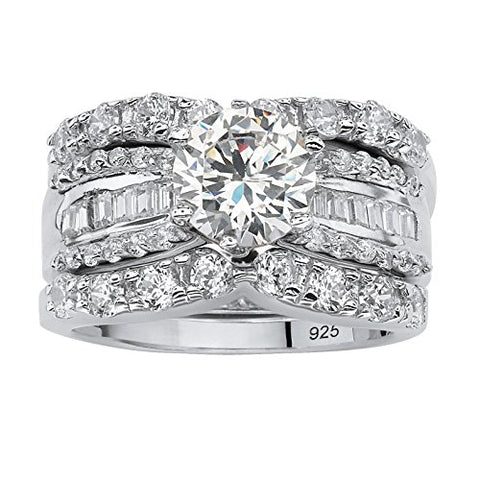 Platinum over Sterling Silver Round and Baguette Cubic Zirconia Bridal Ring Set