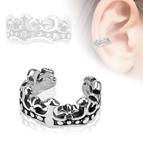 Fleur De Lis Design Rhodium Plated Brass Non Piercing Ear Cuff
