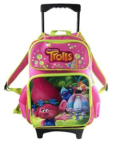 Dreamworks Trolls Poppy Large Hot Pink School Rolling Backpack 16