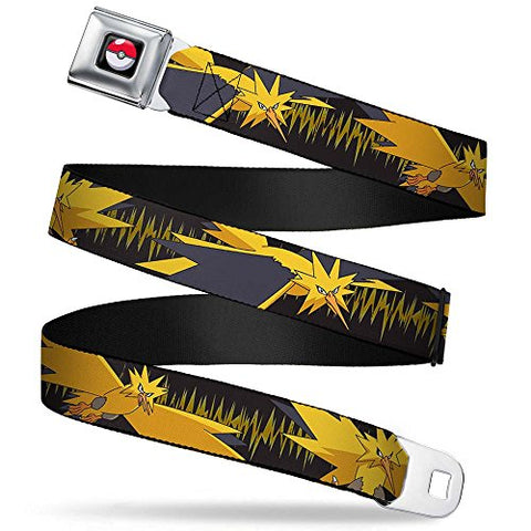 Zapdos 3-poses/electrical Charge Black/yellows Seatbelt Belt