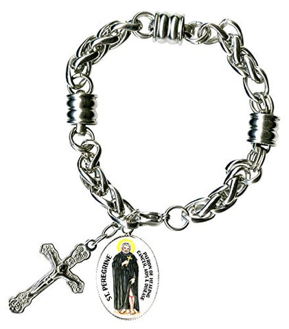 St Peregrine for Healing Disease Charm & Cross Stainless Steel 7  to 8  Bracelet