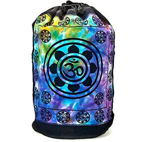 Cotton Back Pack Om Lotus Floral Tie Dye Design