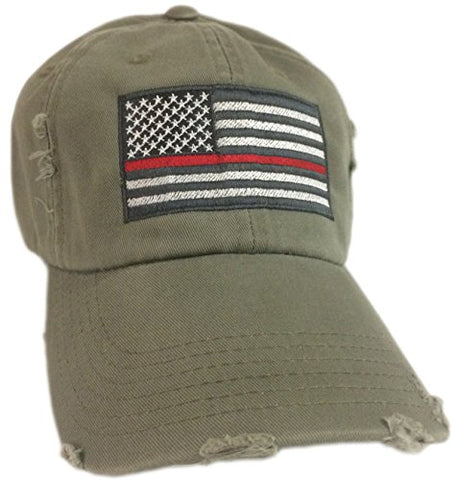 BlvdNorth Thin Red Line American Flag Hat cap Olive Green Support firefighters