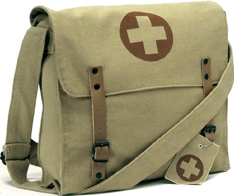 Vintage Shoulder Medic Bag (Khaki, Red Cross)