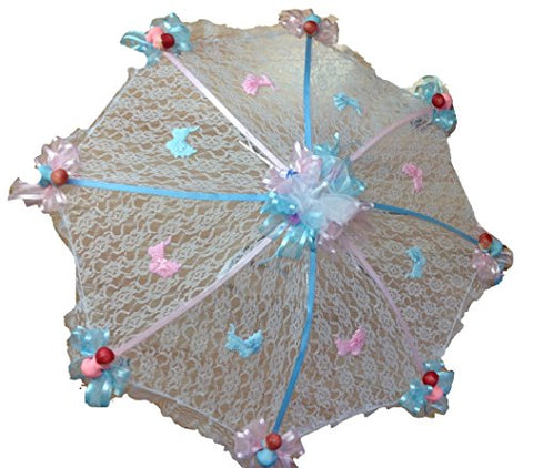 Decorated Baby Shower White Lace Umbrella Parasol 32  Pink and Blue Ribbons