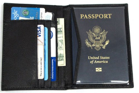 RFID Blocking 100% Genuine Leather Passport Wallet with Colored Gift Box