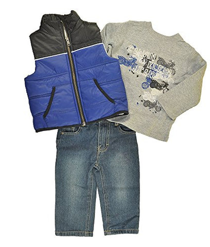 Calvin Klein Baby Boys Blue Vest 3pc Denim Pant Set