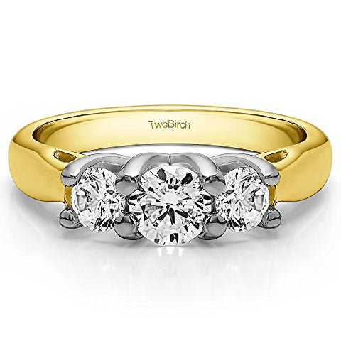 4.5Ct Three Stone Trellis Set Wedding ring in Two-tone Silver CZ(Size 3 to 15 in 1/4 Sizes)
