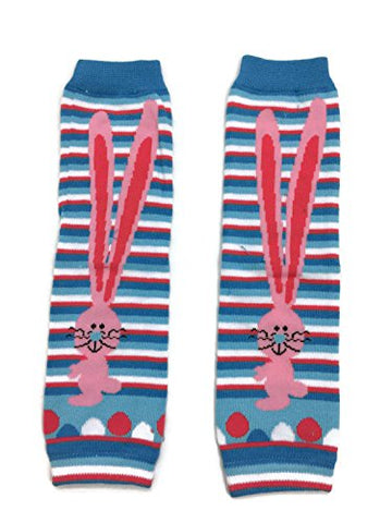 KWC - Blue & White Stripes Long Ears Bunny Unisex Baby Leg Warmer (Easter Day)