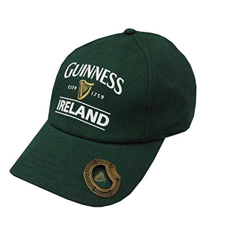 Bottle Green Guinness Baseball Cap With Bottle Opener And Ireland Est. 1759 Text