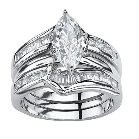 Marquise-Cut White Cubic Zirconia .925 Sterling Silver 3-Piece Bridal Ring Set