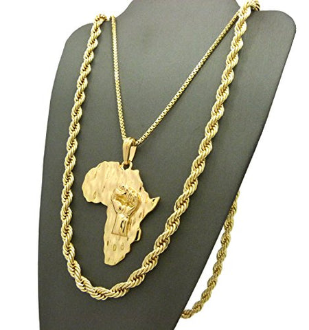30 Various Chain Necklace Gold Tone Raising Fist Power in Africa Map Shape Pendant 24