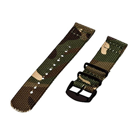 Clockwork Synergy - 26mm 2 Piece Classic Nato PVD Nylon Army Camo Replacement Watch Strap Band