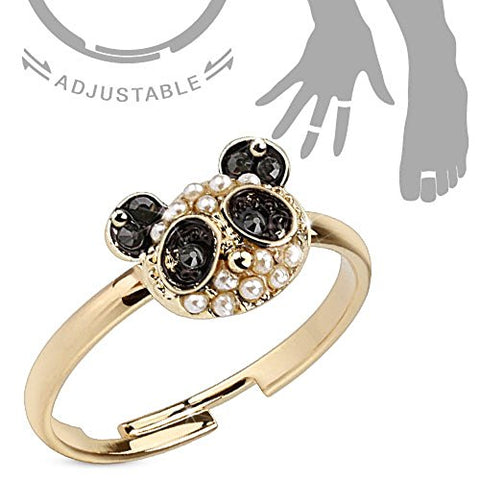 Panda with Black CZ and Pearls Adjustable Brass Mid-Ring/Toe Ring