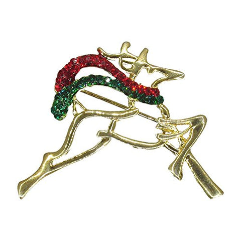Winter Rudolph Reindeer Deer Christmas Wildlife Handmade with Swarovski Crystals NEW Vintage Inspired Gift Brooch Pin P476