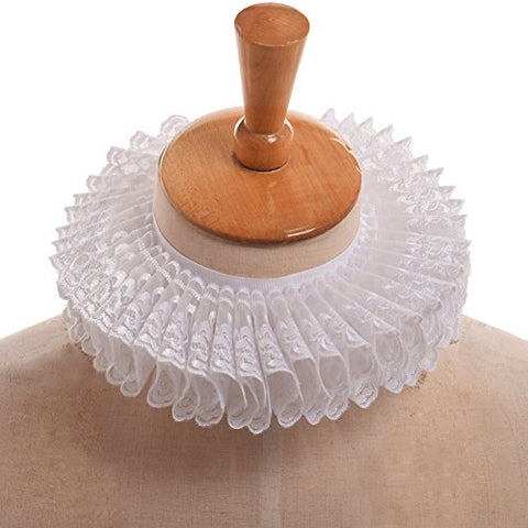 GRACEART Elizabethan Ruffle Collar Scarf with White Lace
