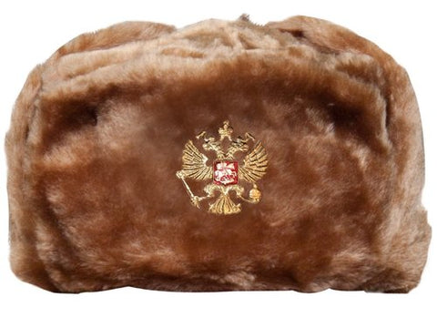 Soviet Military Hat with Ear Flaps Light Brown Ushanka (L)