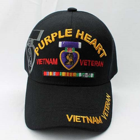 VIETNAM VETERAN PURPLE HEART CAP COVER HAT - BLACK, One Size