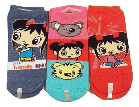 Ni Hao Kai-lan Kids 3 Sock Set ~ Size 6-8, Shoe 10.5-4 (Hands, Characters, Red)