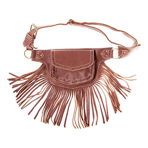 Womens Leather Fringed Festival Hip Pack Utility Belt-Brown-One Size