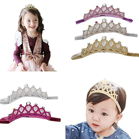 Lovinglove Baby Girls Crown Elastic Headbands Cute Hair Accessories (5 Princess)