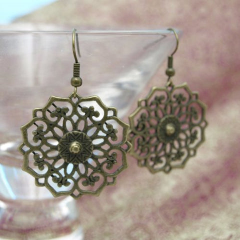 Wrapables Vintage Floral Medallion Copper Dangle Earrings